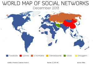 Redes Predominantes por país. (Fuente: http://vincos.it/world-map-of-social-networks/ )