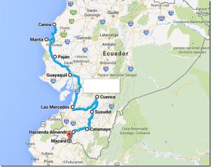 recorrido Canoa - Guayaquil - Cuenca - Loja - Catamayo - Macará frontera con la Rep. del Perú